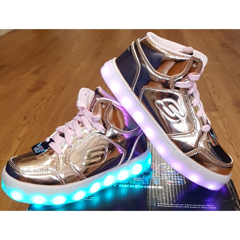 db177361b753 Skechers Energy Lights High Top Trainers - Rose Gold