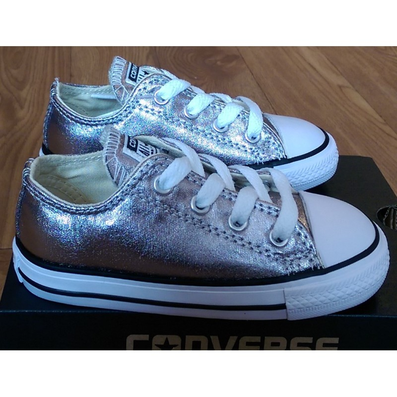 5652c79d3186 Girls Silver Converse All Star Ox Infant